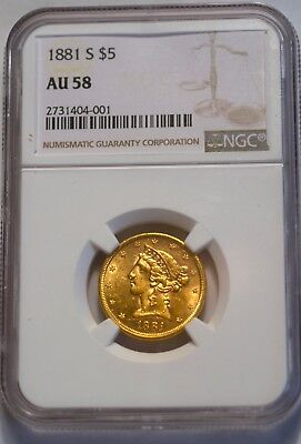 1881-S GOLD $5 Half Eagle Indian NGC AU58 BV-$475