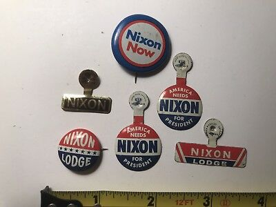 Vintage Richard Nixon Campaign Button Pin Collection - Lot Of 6