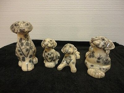 Dalmatian Family Raku Handcrafted Pottery. From South Africa