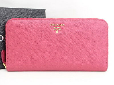 20c5bfab727ba9 Auth PRADA Ladies Long Wallet Zip-round Leather Pink Italy 0 Ship  23140066500 kG