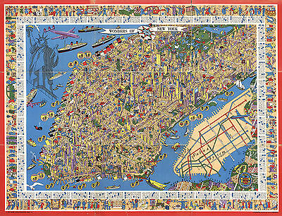 Pictorial New York Manhattan Map Subway System Wall Art Poster Vintage History