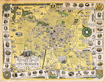 1938 Pictorial Map Wilmington Historical Vintage Genealogy Wall Art Poster Decor