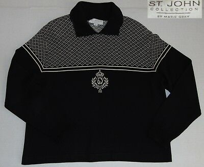 St John Collection by Marie Gray Sweater Top Black & White Crown Logo Women's L