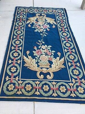 Vintage Antique Victorian Handstitched Needlepoint Tapestry Wall Area Rug