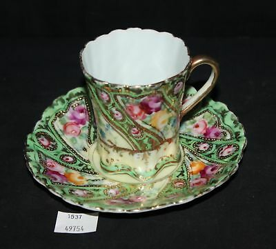 ThriftCHI ~ Hand Painted Nippon Tea Cup & Saucer w Rose Design