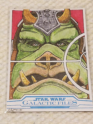 Topps Star Wars Galactic files artist sketch card by Clinton Yeager