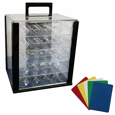 1000 Poker Chip Clear Acrylic Case Carrier with Racks + Cut Cards