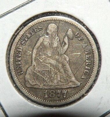 1877 US Silver Seated Liberty One Dime Ten Cents 10 ct. Antique AU Details Coin