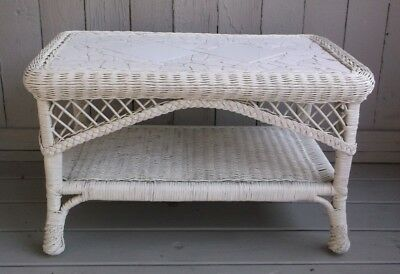 Antique Victorian Style Vintage Wicker Two Tier Coffee Table With Tile Inset