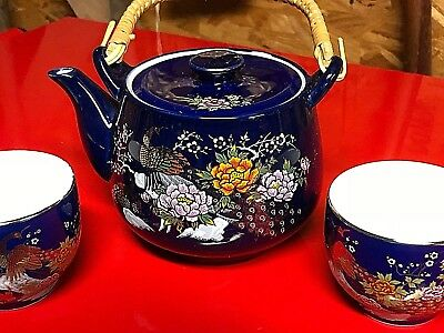 Antique Blue Floral Japanese Porcelain Tea Pot Lid w 4 Cup Set Gold Leaf accents
