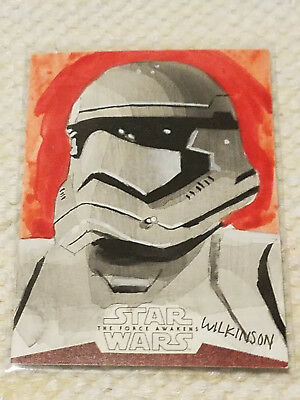 Topps Star Wars the Force Awakens artist sketch card by Wilkinson