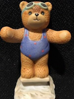 Enesco Lucy and Me Diving Bear In Swimsuit And Goggles 1986