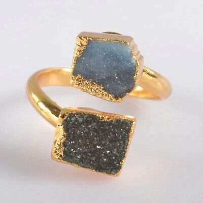 Size 8 Agate Druzy Geode Adjustable Ring Gold Plated B072501