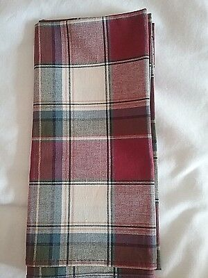 "Longaberger  19"" Square Fabric ~ Paprika Plaid Napkin"