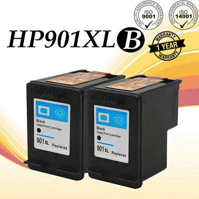 /& Color Ink for HP Officejet G510 J4524 4500 CC656AN CC653AN 2-pk #901 Black