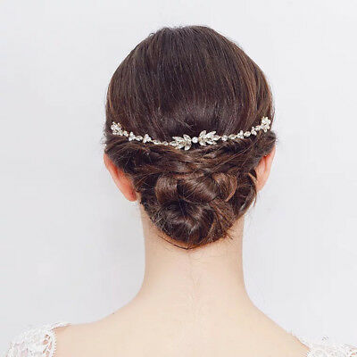 Woman Gold Wedding Hair Accessories Long Brides Hair Combs Crystal Hairbands