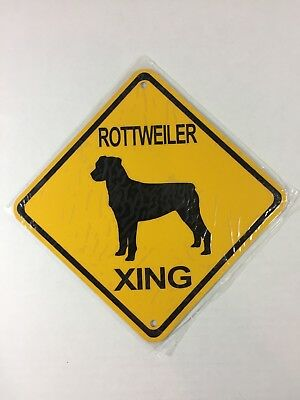 """ROTTWEILER XING Small Metal Caution Dog Crossing Sign 6""""x6"""" (NEW)"""