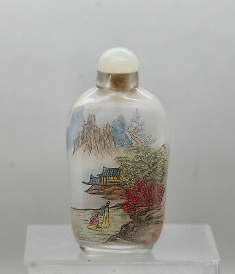 Lovely Vintage Hand Painted Chinese Glass Snuff Bottle Original Jade Stopper