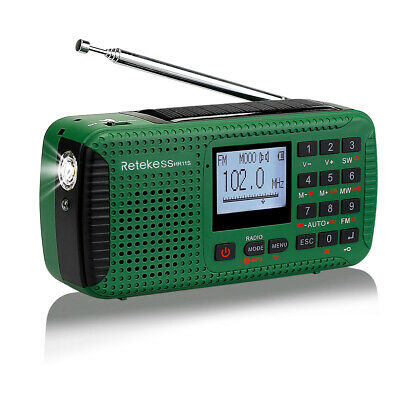 HR11S FM/MW/SW Hand Crank Emergency Radio Bluetooth MP3 Player Digital Record AU