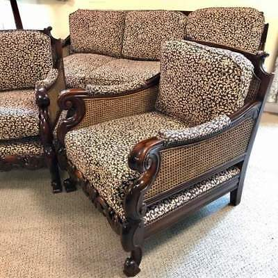 Bergere 3 Piece Suite - Walnut Framed Double Cane