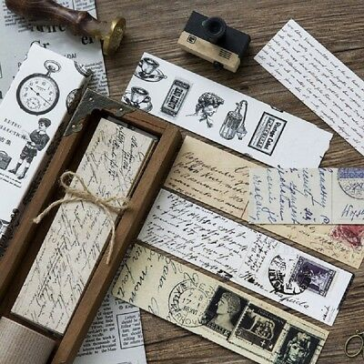 30pcs Retro Paper Collection Bookmark Paper Cartoon Bookmark School Stationery