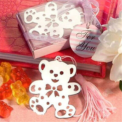 Creative Pink Bear Exquisite Alloy Bookmarks With Ribbon Box Cute Gift