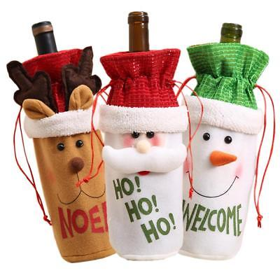 Red Wine Bottle Cover Bags Snowman Santa Claus Christmas Decoration  Xmas