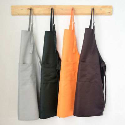 Kitchen Restaurant Cooking Bib Apron with Pocket Cotton Polyester Blend Unisex
