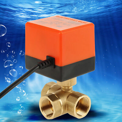 Hot Electric Motorized Brass Ball Valve DN20 AC 220V 3 Way with Actuator G3/4""
