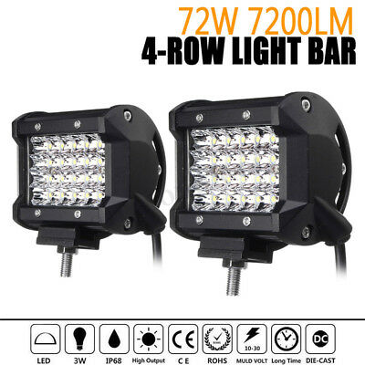 2x 4 Inch Quad Row LED Work Light Spot Off-road Driving Fog Lamp Truck Boat  !