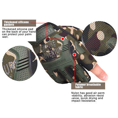 Tactical Hard Knuckle Half Finger Gloves Fingerless Motorcycle Cycling Mittens
