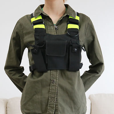 Portable Radio Pocket Chest Harness Pack Pouch Holster Vest Rig Reflective Green