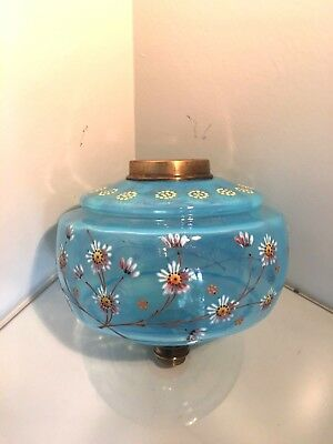 antique clear glass turquoise oil  lamp fount with hand painted flowers