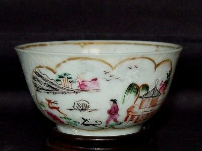 CHINESE 18th C QIANLONG JAMES GILES STAG HUNT LONDON DECORATED TEA BOWL CUP #1