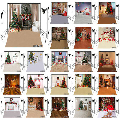 8X12FT Vinyl Studio Backdrop Background Rustic Floor Xmas Tree Fireplace Wreath