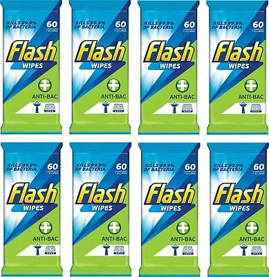 8 x Flash Strong Weave Anti Bacterial Cleaning Wipes Pack Of 60