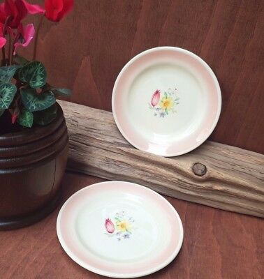 A pair of Vintage Susie Cooper Pink Dresden Spray small plates 13.5cm
