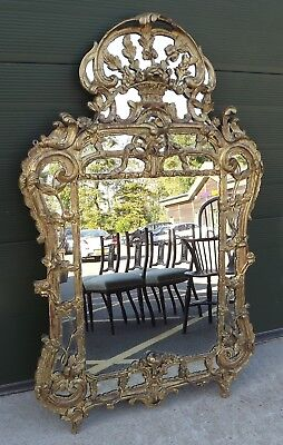 Large Antique C18th Georgian Gilt-Framed Wall Mirror, Lovely Shape and Style