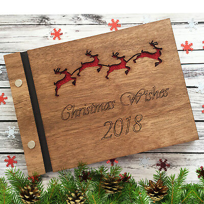 Personalised Christmas Guest Book Scrapbook Album Wooden 40 PAGES