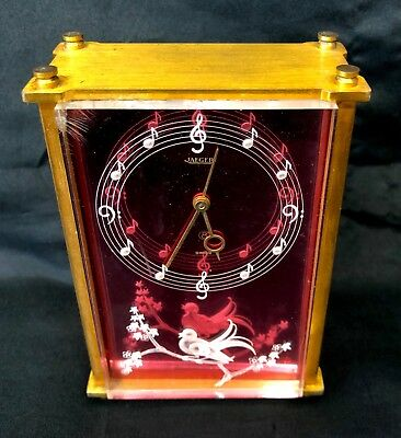 Vintage JAEGER LECOULTRE 8 Day Musical Music Box Alarm Clock Red 3D Bird Dial