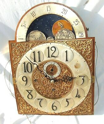Musical 3 Train Rolling Moon Long Case Grandfather Clock Dial & Movement 9 Tube