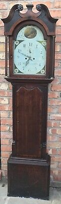 Antique Oak & Mahogany Longcase Grandfather Clock Cheshire Arched Dial 8 Day