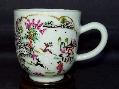 CHINESE 18th C QIANLONG JAMES GILES STAG HUNT LONDON DECORATED TEA CUP BOWL #2
