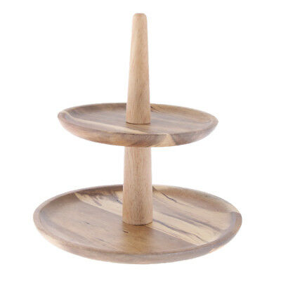 2 Tier Wooden Serving Tray Stand Caddy Cake Picnic Wedding Party Platter