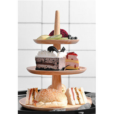 3 Tier Wooden Serving Tray Stand Caddy Cake Picnic Wedding Party Platter