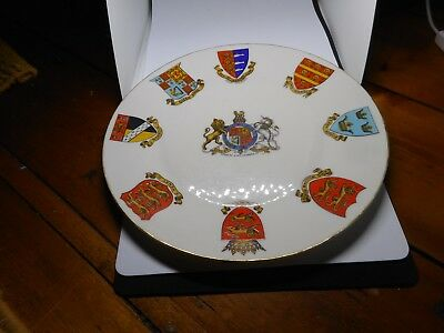 """GOSS CRESTED CHINA WALL PLATE(24.25cms diameter)""""ARMS OF EDWARD VII"""""""