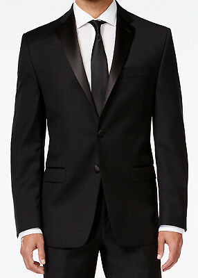40R Mens Black Calvin Klein Two Button Formal Tuxedo with Flat Front Pants 40R