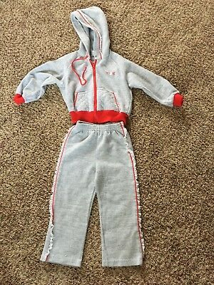 HEALTHTEX girl 4T grey sweat suit fleece hood jacket pants lace VTG 1970-80s USA