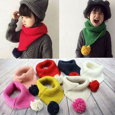 Kids Wool Scarf Bib With Hair Ball Knit Scarf Fashion Clothes Accessorie OPP Bag