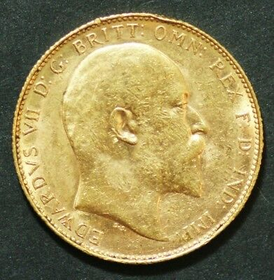 1908 Edward VII Gold Sovereign in extremely fine condition